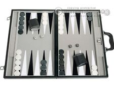 18-inch Leatherette Backgammon Set - Velvet Playing Field - Classic Board Game