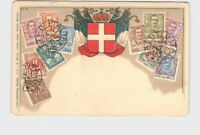 PPC POSTCARD ITALY STAMPS COAT OF ARMS EMBOSSED UNDIVIDED BACK