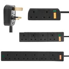 Surge Protected Mains Extension Lead UK Power Cable Plug Trailing Socket Black