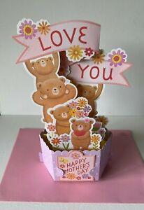 Hallmark Mother's Day Card ~ 3D Pop UP Teddy Bear Family