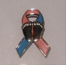Blue & Pink Infant and Pregnancy Loss Awareness ribbon enamel badge / brooch.