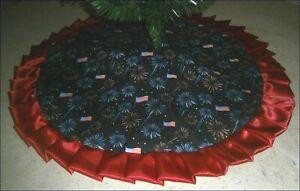 "Custom Order Patriotic Tree Skirt ~ 32"" ~ Fireworks ~ Custom Made"