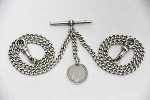 ANTIQUE SOLID SILVER DOUBLE ALBERT POCKET WATCH CHAIN + 1917 SILVER COIN FOB .