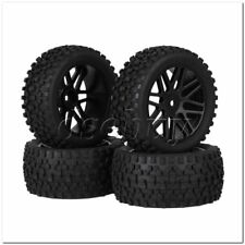 4x RC 1:10 Plastic 16 Spoke Wheel Rims + H Type Rubber Tyres Black for Buggy