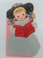 Vtg 1952 To A SPECIAL GIRL Flocked DRESS  Rust Craft BIRTHDAY GREETING CARD