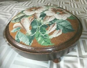 VINTAGE ROUND WOODEN STOOL with HAND WORKED WOOLWORK/TAPESTRY ~ 27 cm diameter