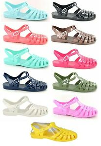SALE LADIES SPOT ON CASUAL RETRO SUMMER FLAT JELLY SHOES SANDAL F0711 COLOURS