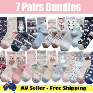 7 pairs Bundle Cotton Woman cute animal multi-colour design Xmas crew socks