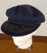 VTG Aegean Hat Fisherman Cap Greece Wool Sz 59 7 3/8 Blue Dutch Hipster Cosplay