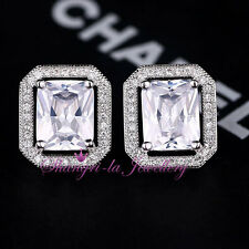 18K White GOLD GF Womens SILVER Stud CRYSTAL EARRINGS Swarovski DIAMOND K507-S