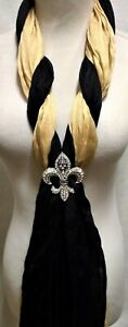 Fleur de Lis Magnetic Scarf Decoration with TWO Fringed Scarves - Black and Gold