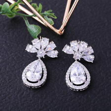 18K White Gold F Teardrop Cluster Earrings Made With Swarovski Crystals Bridal