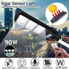 90W 90000LM LED Solar Street Wall Light Motion Sensor Outdoor Timer Lamp+Remote