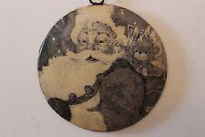santa black and white tin christmas ornament with hanging string happy Santa