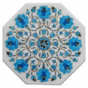 "12"" Marble Corner Table Top Pietra Dura Handmade Inlay Art Work"