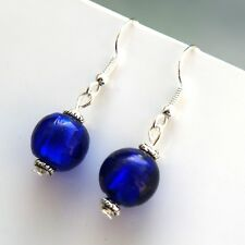 Blue Drop Dangle Earrings With Sterling Silver Hooks Round Glass Beads LB385