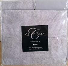 New Charisma King 6pc Sheet Set 100% Microfiber Polyester White Grey Tweed