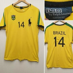 POLO RALPH LAUREN BRAZIL BRASIL 14 T-SHIRT YELLOW DESIGNER TOP SIZE L LARGE