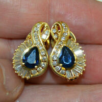 3.00 Ct Pear Cut Blue Sapphire & Diamond Clip On Earrings 14K Yellow Gold Over