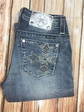 Women's Buckle Miss Me Mid Rise Easy Boot Embellished Jeans Size 27 X 27