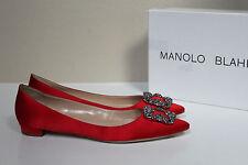sz 8 / 38.5 .Manolo Blahnik Red Satin Hangisi Brooch Toe Jewel Flat Slip on Shoe