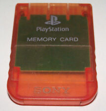 Clear Orange Genuine Sony PS1 Memory Card PlayStation 1 1MB
