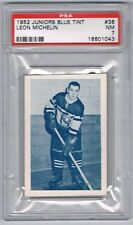 1952 Juniors Blue Tint  Hockey Card Three-Rivers #36 Leon Michelin Graded PSA 7