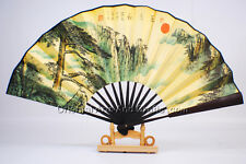 Handmade Chinese Landscape Painting Hand Held Fan Bamboo Paper Souvenir #f308
