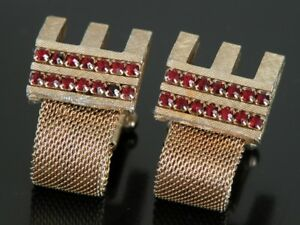 Vtg Jeweled Ruby Red Stone Wrap Around Cufflinks Crystal Gold Tone