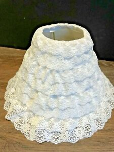 """Vtg Layered White Ruffled Lace Lamp Shade Shabby Cottage 7 1/2"""" tall  10"""" across"""