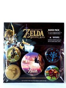 Zelda Breath Of The Wild Official Badge Pack Gift Fan Fun Pack 5 Badge New