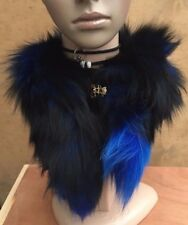 blue black genuine real fox tail fur collar scarf neck warmer shawl stole