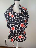 Madison Paige Size 3X Womens Tunic Top Black White Red Polka Dot Cowl Neck Shirt