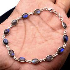 NATURAL SPECTROLITE LABRADORITE Oval Shape 925 Sterling Silver Designer Bracelet