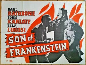 "Vintage Son of Frankenstein UK Quad poster 40"" x 30"" - Classic Horror Film Movie"
