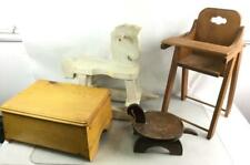 Wooden Rocking Horse, Doll High Chair & Step Lot 3358