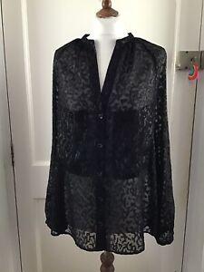 Day Birger Et Mikkelsen Black Sheer Evening Blouse Size 40, 14 Uk