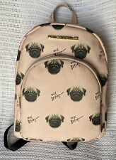 Betsey Johnson Kitsch Backpack Purse Light Pink Pug Dog Print NEW XOX MSRP $98