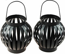 Set of 2 BLACK IRON CANDLE LANTERN Garden Ornament/Decoration TEA LIGHT