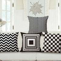 "Geometric cover 18"" Decor White Pillowcase Cotton Linen Cushion Black Pattern"