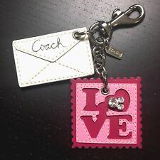 NEW Coach Love Letter Stamp Jewel Charm Keyfob Keychain