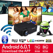 WiFi 4K 3D Android 1080P LED Projector Home Theater 2000Lumen Bluetooth HDMI 8GB