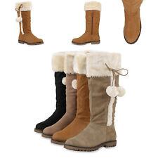 Warm Gefütterte Damen Winterstiefel Kunstfell Stiefel Bequem 812667 Schuhe