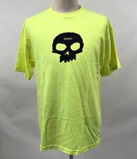 Zero Skateboards Men's T-Shirt Single Skull Safety Green Size L NEW