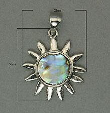 Genuine Abalone/Paua Shell Pendant with Silver Bail For Necklace (B001-161)
