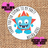 Personalised 24 monster party bag stickers sweet cone labels thank you blue bmon