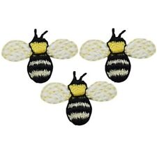 """Mini Bumblebee Applique Patch - Bee, Insect, Bug Badge 3/4"""" (3-Pack, Iron on)"""