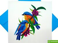 Bluebirds Quilling Greeting Card - Unique Dedicated Handmade Art