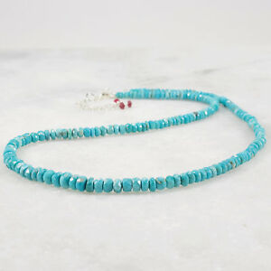 Genuine Turquoise Necklace, Sterling Silver, Rubies, Sleeping Beauty Choker Bead