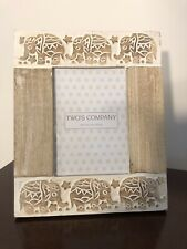 Elephant Themed Picture Frame Neutral Wood Nib